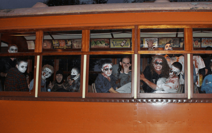 Looking into a train car filled with party-goers dressed as zombies for the Hartford, CT Rails to the Dark Side event